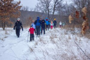Snowshoe hike Devil's Lake State Park Baraboo winter spirit trail